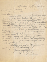 William Peter Lamale, letter to Cornell president in 1912