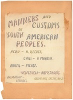 Manners and Customs of South American Peoples